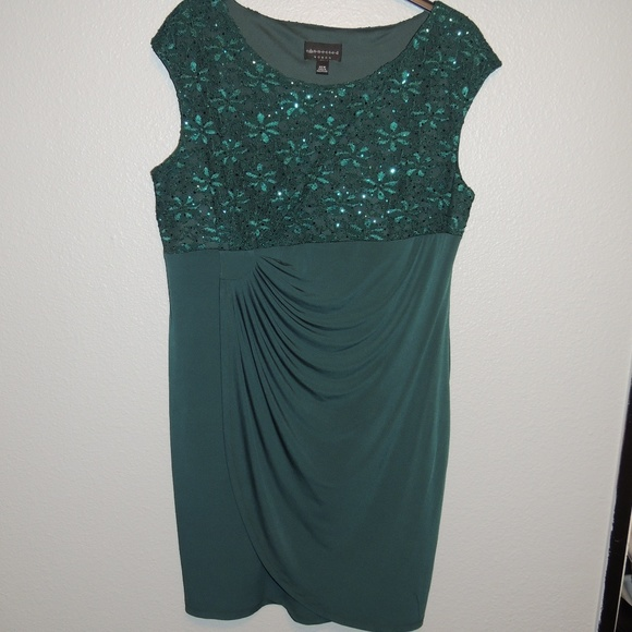 Green Plus Size 22W Sequins lace formal dress